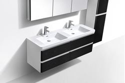 Picture of Milan Contemporary double bathroom cabinet 1500 mm L, rounded corners, 4 drawers, White & Black, ref KCM1500WB