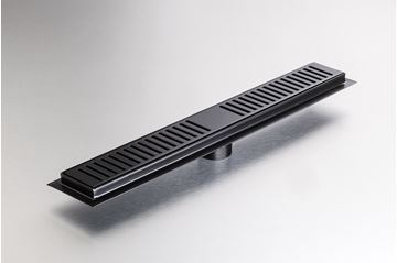 Picture of 500 mm long Black Stainless Steel shower channel with perforated grid ref KGA1013/500blk