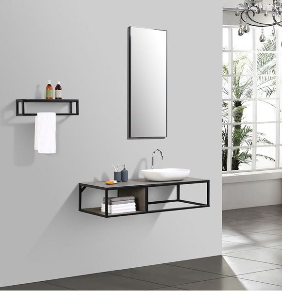 Picture of Modern bathroom vanity 1300 mm L with black iron frame and textured Stone Ash counter 5 pcs set