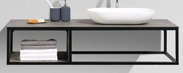 Picture of Picasso modern bathroom vanity 1300 mm L with black iron frame, textured Stone Ash counter and white basin (3 pcs set)