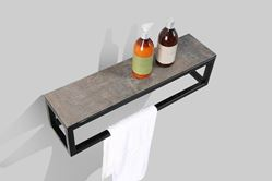 Picture of Picasso shelf Black iron frame with HPL Stone Ash textured panel