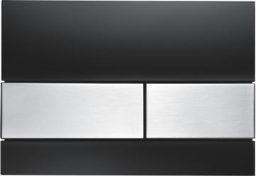 Picture of Tece Square push plate black glass with stainless steel buttons for concealed cistern