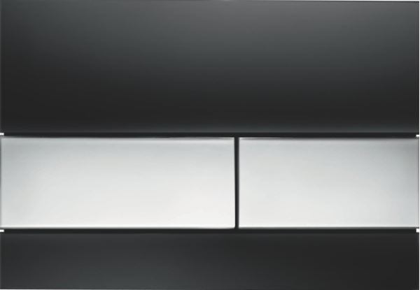 Picture of Tece Square black glass push plate with bright chrome buttons for concealed cistern