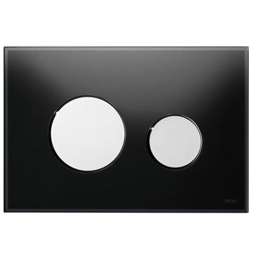 Picture of Tece Loop black glass push plate for cistern with white buttons