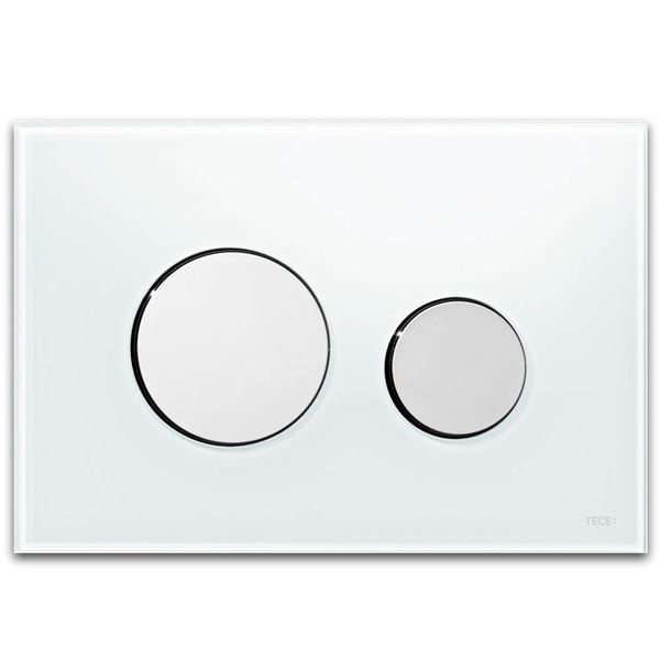 Picture of Tece Loop White glass push plate with bright chrome buttons for concealed cistern