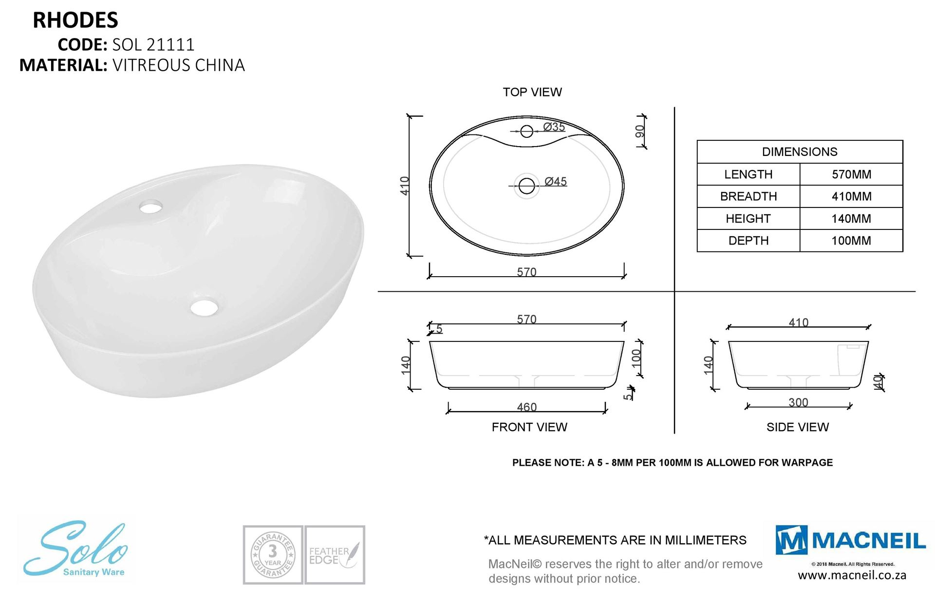 Large oval over the counter vitreous china basin 570 x 410 x 140 mm ref  RH21111