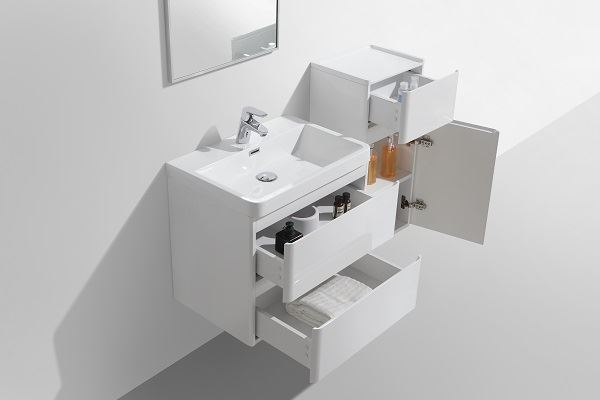Picture of Milan WHITE Contemporary Bathroom cabinet SET with rounded corners, 600 mm L, 2 drawers