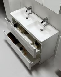 Picture of Gucci 1200 mm L double vanity with rounded corners and 2 drawers, white, ref KGG1200