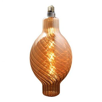 Picture of Hanging Decorative Amber Glass Globe 360 mm x 170 mm + 6W LED Bulb, 450 Lm in SALE