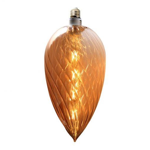 Picture of Beautiful Decorative Amber Glass Globe 250 mm x 180 mm with 6W LED filament Bulb, 450 Lm in SALE