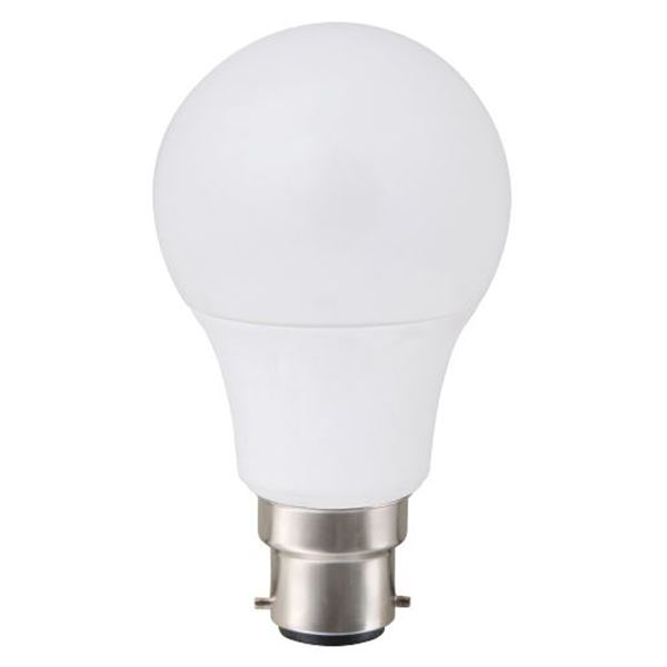 Picture of 6W LED A60 bulb, 230V 50 Hz, B22 (bayonet), 450 Lm, 90% energy saving, 3 years GUARANTEE
