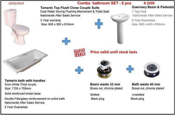 Picture of SALE Quality Bathroom set, 5 pcs with 5 /3 years warranty