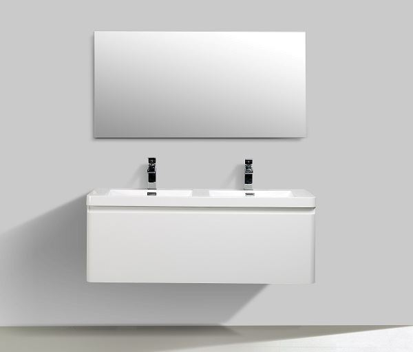 Picture of Milan WHITE Contemporary double bathroom cabinet SET 1200 mm L with single drawer