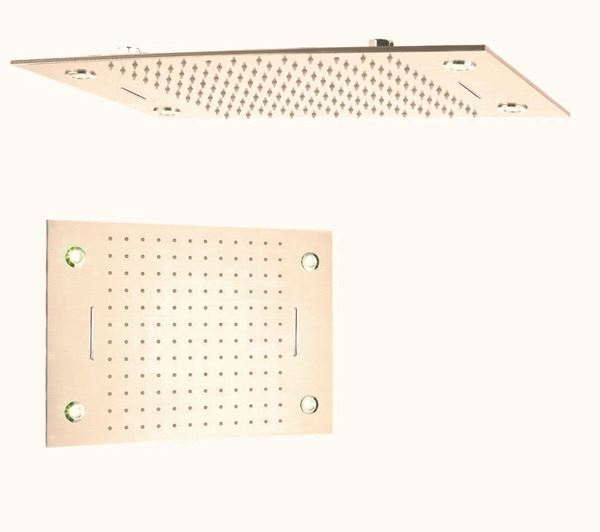Picture of Stunning large stainless steel shower head 500 x 800 mm L with 2  Waterfalls and 4 LED lights