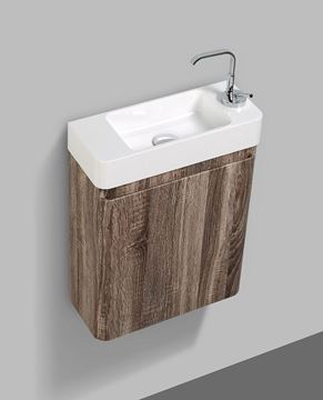 Picture of Extra slim SILVER OAK bathroom cabinet with rounded corners, 450 x 182 x 550 H