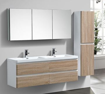 Picture of Milan White & WHITE OAK Contemporary Double bathroom cabinet SET 1500 mm L with 4 drawers