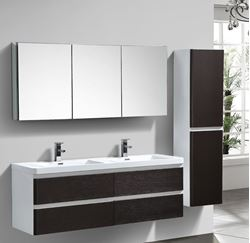 Picture of Milan White & CHESTNUT Contemporary Double bathroom cabinet SET 1500 mm L with  4 drawers