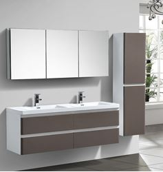 Picture of Milan White & GREY GLOSS Contemporary Double bathroom cabinet SET1500 mm L with 4 drawers