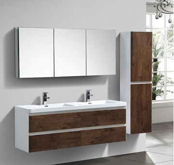 Picture of Milan White & ROSE WOOD Contemporary Double bathroom cabinet  SET 1500 mm L with 4 drawers
