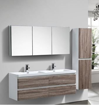 Picture of Milan White & SILVER OAK Contemporary Double bathroom cabinet SET 1500 mm L with 4 drawers