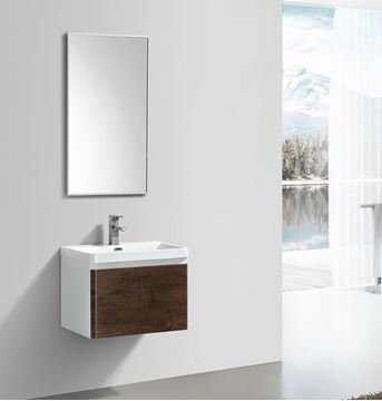Picture of Milan ROSE WOOD & WHITE Contemporary Bathroom cabinet SET  with rounded corners, 600 mm L, 1 drawer