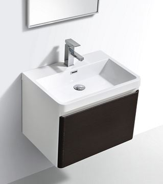 Picture of Milan CHESTNUT & WHITE Contemporary Bathroom cabinet SET with rounded corners, 600 mm L, 1 drawer