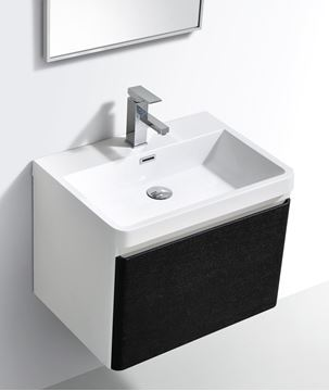 Picture of Milan BLACK & WHITE Contemporary Bathroom cabinet SET with rounded corners, 600 mm L, 1 drawer