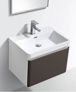 Picture of Milan WHITE & GREY Contemporary Bathroom cabinet SET with rounded corners, 600 mm L, 1 drawer