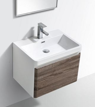 Picture of Milan SILVER OAK & WHITE Contemporary Bathroom cabinet SET with rounded corners, 600 mm L, 1 drawer