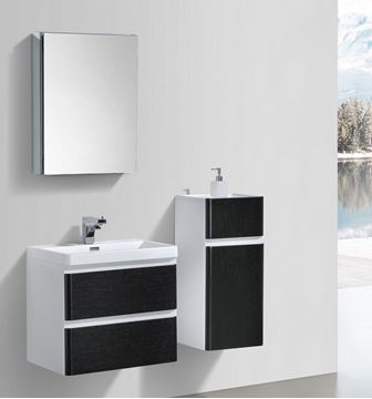 Picture of Milan BLACK and WHITE Contemporary Bathroom cabinet SET with rounded corners 600 mm L 2 drawers