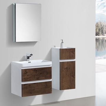 Picture of Milan ROSE WOOD and WHITE Contemporary Bathroom cabinet SET with rounded corners 600 mm L 2 drawers
