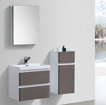 Picture of Milan GREY and WHITE Contemporary Bathroom cabinet SET with rounded corners 600 mm L 2 drawers