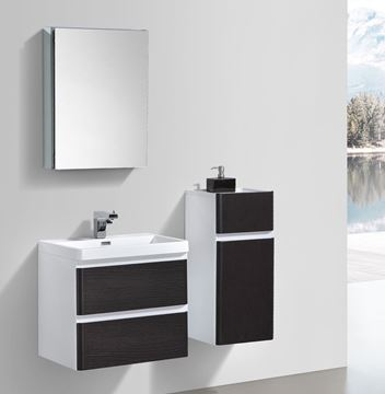 Picture of Milan CHESTNUT and WHITE Contemporary Bathroom cabinet SET with rounded corners 600 mm L 2 drawers