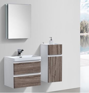 Picture of Milan SILVER OAK and WHITE Contemporary Bathroom cabinet SET with rounded corners 600 mm L 2 drawers
