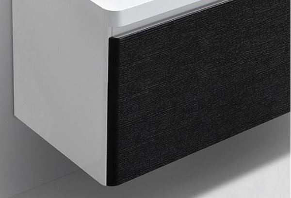 Picture of Milan BLACK and WHITE Contemporary Bathroom cabinet SET 900 mm L with 1 drawer and rounded corners