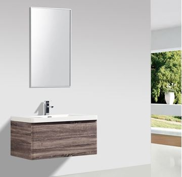 Picture of Milan SILVER OAK Contemporary Bathroom cabinet SET 900 mm L with 1 drawer and rounded corners