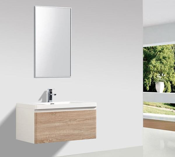Picture of Milan WHITE OAK and WHITE Contemporary Bathroom cabinet SET 900 mm L with 1 drawer and rounded corners