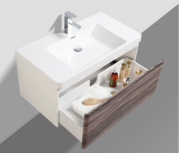 Picture of Milan SILVER OAK and WHITE Contemporary Bathroom cabinet SET 900 mm L with 1 drawer and rounded corner