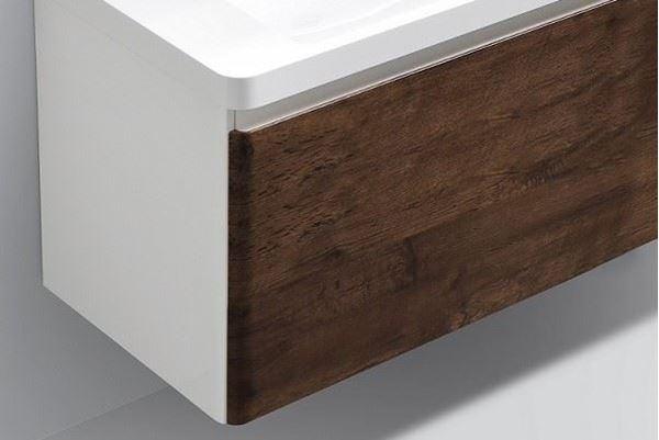 Picture of Milan ROSE WOOD and WHITE Contemporary Bathroom cabinet SET 900 mm L with 1 drawer and rounded corners