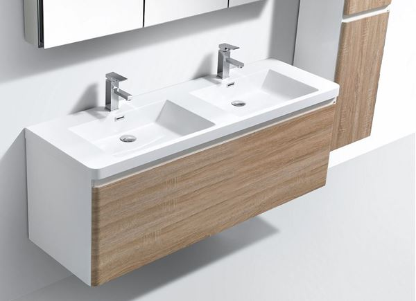 Picture of Milan WHITE and WHITE OAK contemporary double bathroom cabinet SET 1200 mm L, 1 drawer