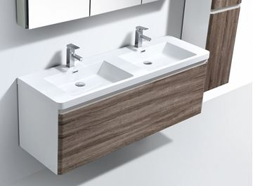 Picture of Milan WHITE and SILVER OAK contemporary double bathroom cabinet SET 1200 mm L, 1 drawer