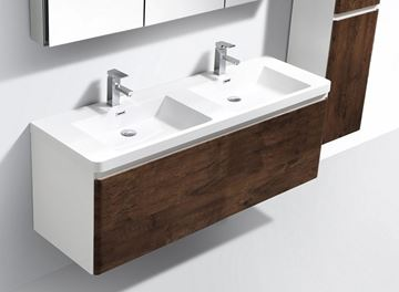 Picture of Milan WHITE and ROSE WOOD contemporary double bathroom cabinet SET 1200 mm L, 1 drawer