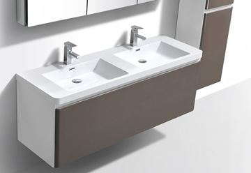 Picture of Milan WHITE and GREY contemporary double bathroom cabinet SET 1200 mm L, 1 drawer