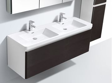 Picture of Milan WHITE and CHESTNUT contemporary double bathroom cabinet SET 1200 mm L, 1 drawer