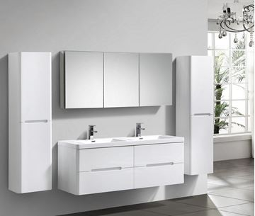 Picture of Venice WHITE trendy double bathroom cabinet SET 1500 mm L with 4 drawers