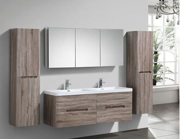 Picture of Venice SILVER OAK trendy double bathroom cabinet SET 1500 mm L with 4 drawers