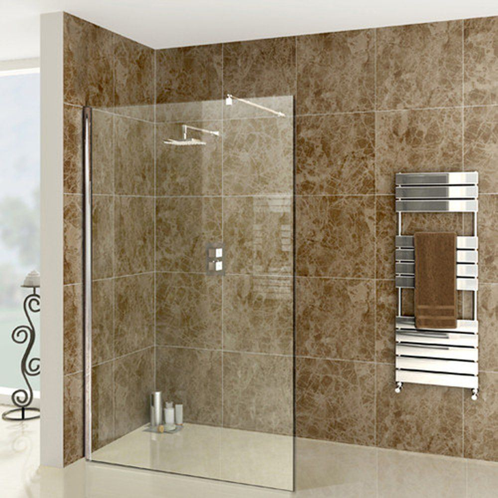 Upmarket Walk-In shower screen 1200 x 2000 x 8 mm tempered glass with 1 U  channel and 1 extendable shower arm