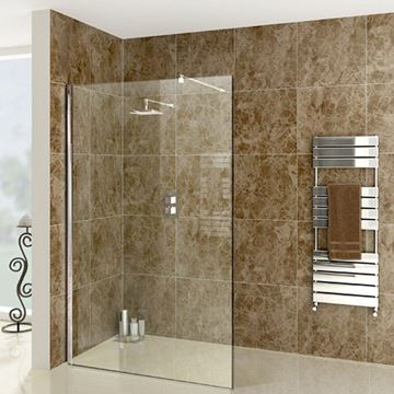 Picture of Upmarket Walk-In shower screen 1200 x 2000 x 8 mm tempered glass with 1 U channel and 1 extendable shower arm