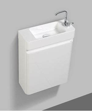 Picture of Extra slim WHITE bathroom cabinet 450 L x 182 D x 550 H, 1 door with BLUM hinges