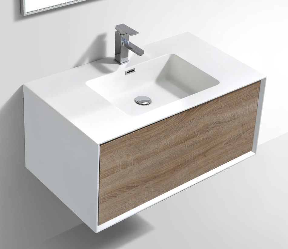 Modena Bathroom Cabinet With Stone / Quartz Basin, 900 Mm ...